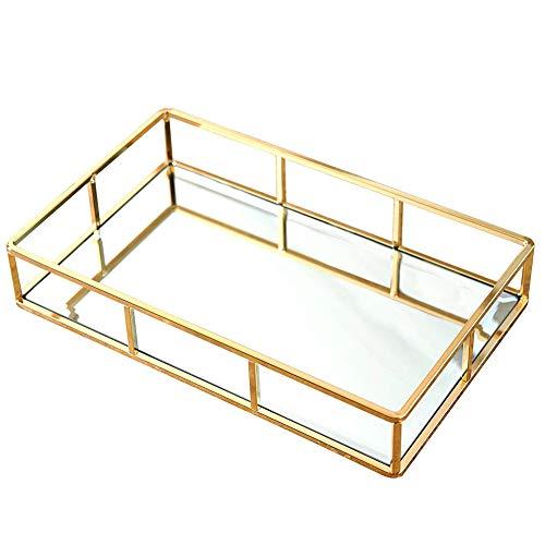 Organizer Tray Gold, Dekoratives Tablett Glas,Spiegeltablett Dekotablett Tablett Glastablett Schmuck Organizer Tablett Kosmetik Platte Serviergeschirr