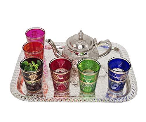 Fidele Marokkanische oriantalische Tee Set Teeservice,marokkanische Teekanne Inkl Tablett und 6 Gläser, Teeservice aus Edelstahl. Marokkanische Gläser. Marokkanische Tablett. Wohnzimmerdeko