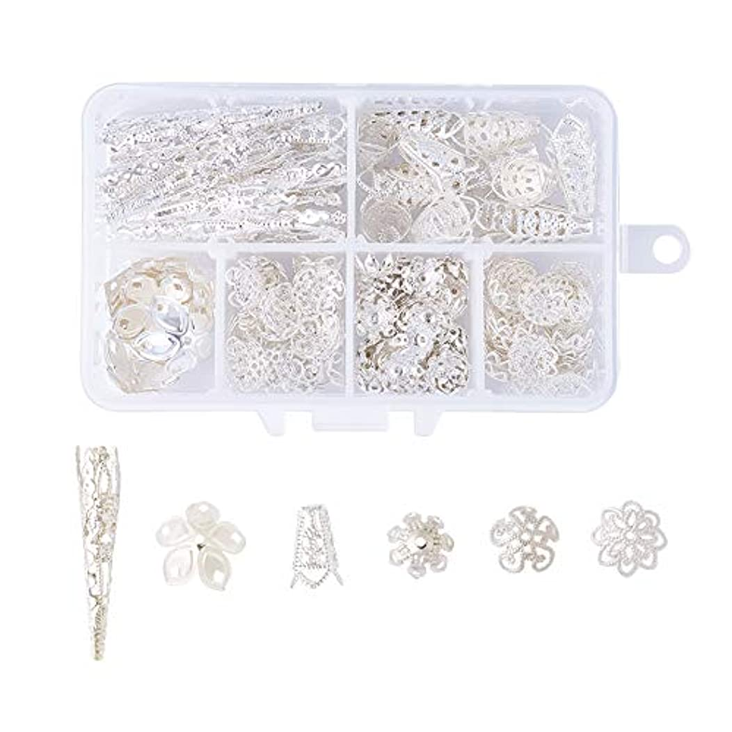 Pandahall 6 Style Brass Filigree Flower Bead Caps Silver Plated Bail Style Metal End Caps for Bracelet Earring Jewelry Making About 205pcs/box dh8288637772