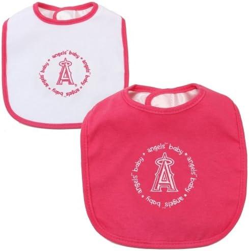 MasterPieces LAA2161: Los Angeles Angels Baby Bibs 2-Pack - Pink