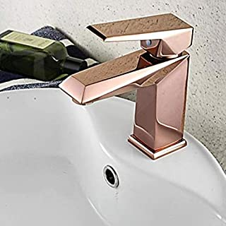 Rose Gold Bathroom Faucet Deck Mounted Bathroom Sink Cold And Hot Water Mixer Tap Brass Tapware (Color : Rose Gold)
