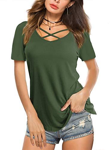 Beluring Bluse Damen Casual Tunika Tops V-Ausschnitt Solides Criss Cross T-Shirt, B-barmeegrün, 46-48 (Herstellergröße: XL)