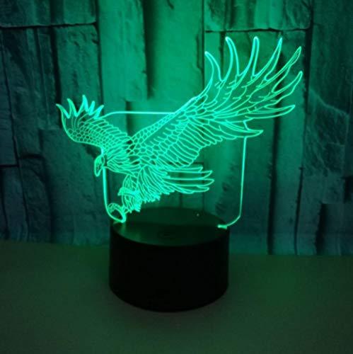 Control remoto 3D luz nocturna águila colorida luz de control remoto LED acrílico luz estereofónica táctil base negra luz nocturna con control remoto Lámpara de mesa USB