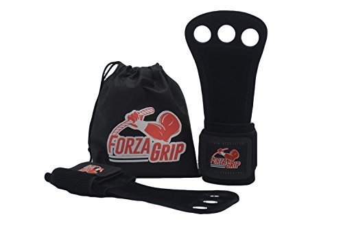 Forza Grip Gymnastic Grips in Leather - Cross Training Fit Gloves - Workout 3 Hole Wrist Wrap and Palm Protection for Men and Women - Weight Lifting and WOD - Free Carrying Bag