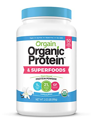 Orgain Based Organic Plant Proteins, + Gluten Free, Soy Free, Non-GMO, 2.02 lb by Orgain Protein + Superfoods Powder, Vanilla Bean + Vegan, Non Dairy, Lactose Free, No Sugar Free