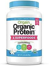 Orgain Organic Plant Based Protein + Superfoods Powder, Vanilla Bean - Vegan, Non Dairy, Lactose Free, No Sugar Added, Gluten Free, Soy Free, Non-GMO, 2.02 Lb