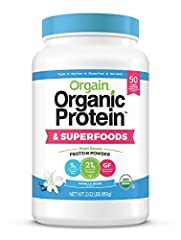 Includes 1 (2.02 Pound) Orgain Organic Protein & Superfoods Vanilla Bean Plant Based Protein Powder Combined benefits of protein and superfoods: 21 grams of organic plant based protein (pea, brown rice, chia seeds), 5 grams of organic dietary fiber, ...