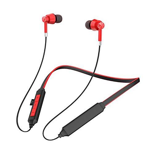 CAPOOK Nuevos Deportes sintonizador Cuello montados en la Tarjeta de estereofonía Auricular Bluetooth Auriculares (Color : Red)