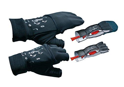 mugesh Handschuhe Noten (ohne Fingerkuppen) mit Klappe und Heizkissen L/XL - Schönes Geschenk für Musiker