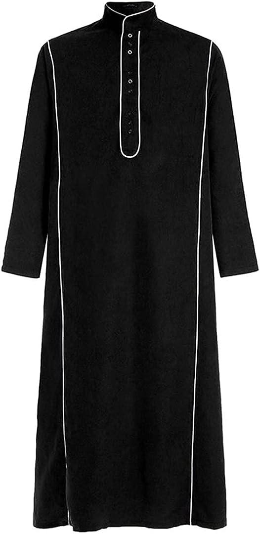 Men Muslim Islamic Kaftan Button 2021 Long Sleeve Stand Collar Solid Jubba Thobe Robes