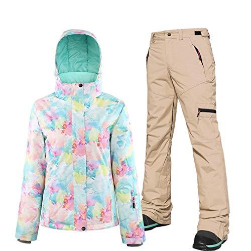 Ski-jack voor dames, met broek, ski-jack, thermische broek, set, winddicht, snowboardjas, waterdicht, sneeuwbroek