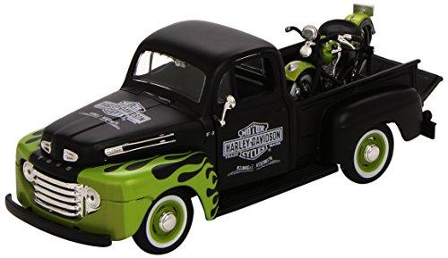 Maisto - 32171WO - Véhicule Miniature - Modèle À L'échelle - Ford F1 - Harley Davidson 1948 - Echelle 1/24 - Orange / Blanc