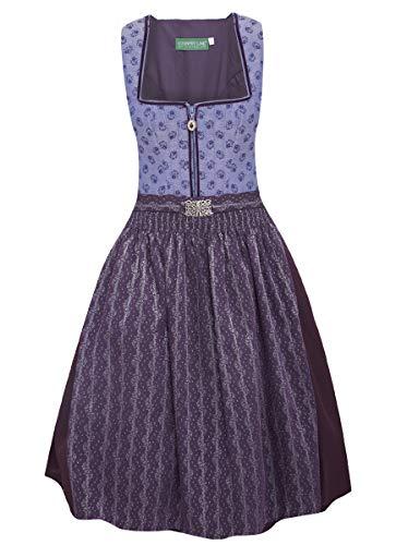 Country-Line Damen Trachten-Mode Midi Dirndl Donal in Lila traditionell, Größe:42, Farbe:Lila