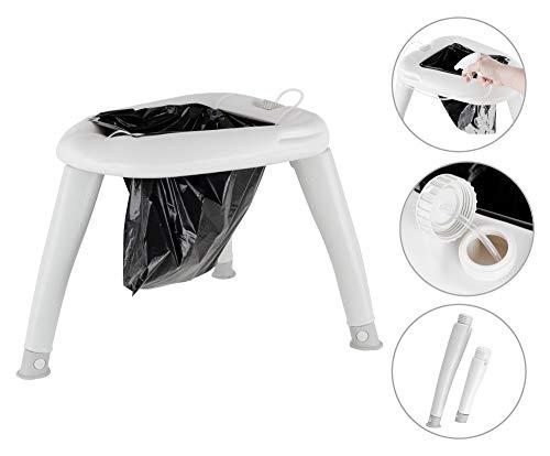 Stagecaptain Quixie-2842 Camping Toilette - Outdoor- und Reise-WC - Für Kinder und Erwachsene - Mit Handwaschsprayer - In praktischer Transporttasche - Inklusive 10 Auffangbeutel - hellgrau