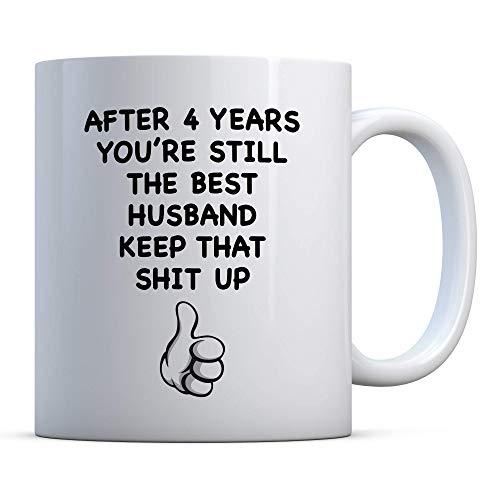 N\A Regalo del Cuarto Aniversario, Regalo Divertido del Cuarto Aniversario, Regalo para el Cuarto Aniversario para el Esposo, Taza de café del Cuarto Aniversario, Taza del Aniversario