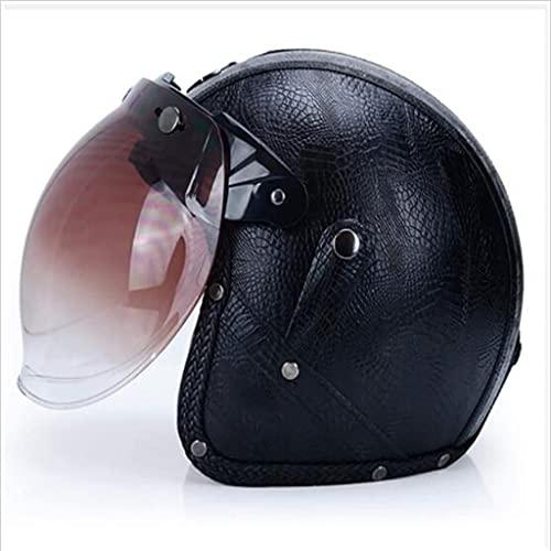 ZLYJ Erwachsener Motorradhelm mit Sonnenblende, 3/4 Vintage Motorradhelm Bestehen Sie den Kollisionstest, um die Verkehrssicherheit zu Gewährleisten, ECE Zertifizierung Unisex Brain Cap