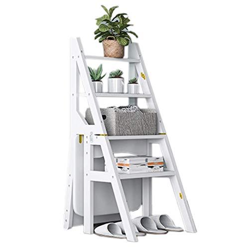 Equipo para el hogar Escaleras Escalera para el hogar Taburetes para el hogar Taburete multifunción para escalera plegable para el hogar Escalera de 4 escalones Silla Zapatero Estante para flores T