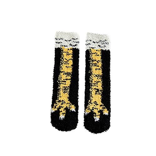 Calcetines de suelo para mujer, divertidos y locos en 3D, diseño de gallina, felpa, calcetines de invierno cálidos, para el tiempo libre, para el hogar, regalos para festivales, Negro , Talla única