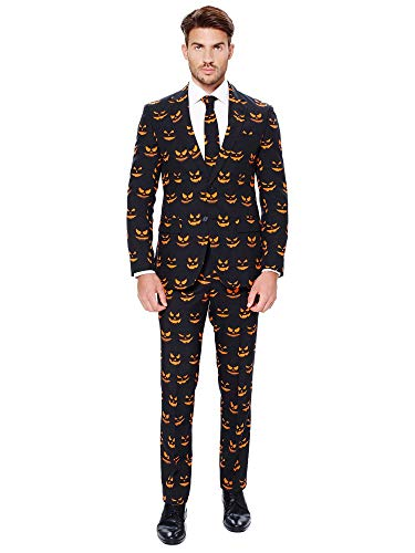 OppoSuits Halloween Suit For Men In Creepy Stylish Print – Black-o Jack-o – Full Set: Includes Jacket, Pants and Tie Traje de Hombre