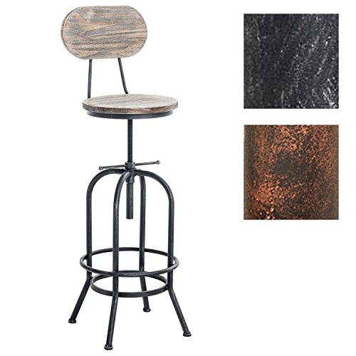 Tabouret de Bar Industriel PINO, mélange des matériaux Bois et métal, Hauteur réglable en continu 68-88 cm, Couleurs:Antique Argent