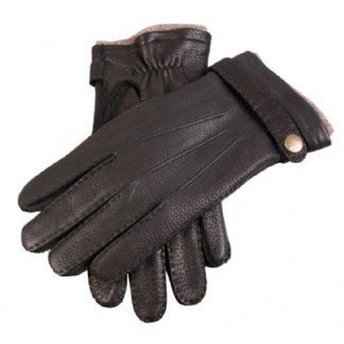 Dents Noir gants de peau de daim occasionnels avec la courroie 8