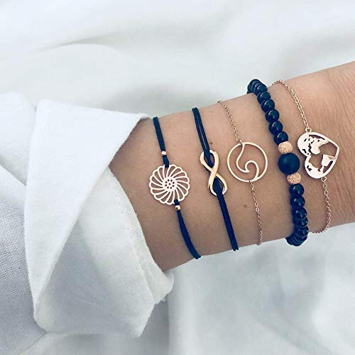 Unicra Juego de pulseras de diamantes de imitación con forma de corazón, cadena negra, colgante para siempre, joyería para mujeres y niñas (paquete de 5)