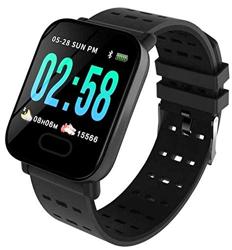 Generic A6 Smart Band Fitness Tracker Watch with Waterproof Functions Like Steps Counter, Blood Pressure, Heart Rate Monitor LED Touchscreen - Black, Smart Watch