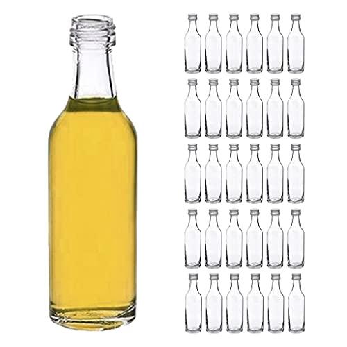 casavetro Clear Screw Top Botellas de Vidrio vacías 50 ml - Tapas giratorias Recargables Reutilizables - Tapa de Metal Ajustada al Aire para Kombucha Home Brewing Gin Aceite Vinagre (30 x 50 ml)