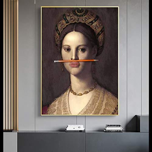 Danjiao Klassische Vintage Frau Ölgemälde Auf Leinwand Poster Und Drucke Fun Lips Pen Wandkunst Bilder Für Wohnzimmer Nordic Decor Wohnzimmer 40x60cm