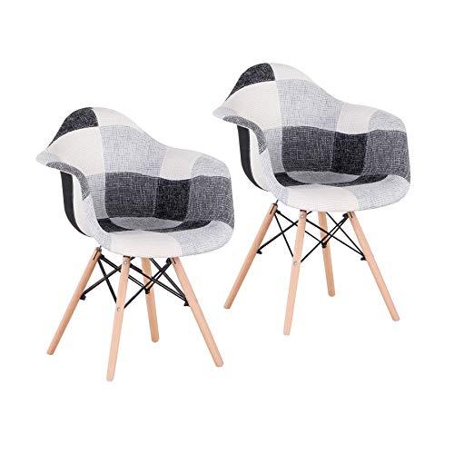 Uderkiny Set di 2 4 sedie sedie Patchwork con braccioli, Adatto per Cucina Soggiorno Sala da Pranzo Camera da Letto, ECC. (Grigio-2)