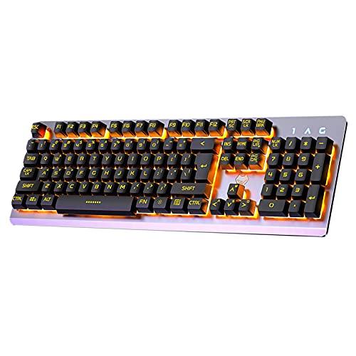 H HILABEE Teclado de Juegos de máquina de Escribir con Cable USB...