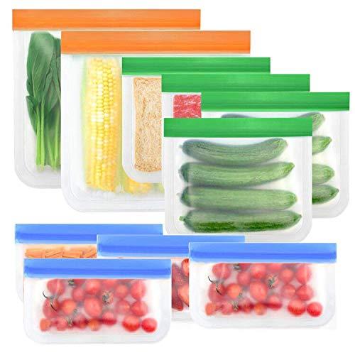 Pahajim Silikon Gefrierbeutel Wiederverwendbar,Sandwich Tasche Lebensmittel Beutel, BPA-Frei Silikonbeutel, Sandwich Tasche für Milch, Gemüse, Obst, Fleisch,Snacks, Brot usw(Farben-10)