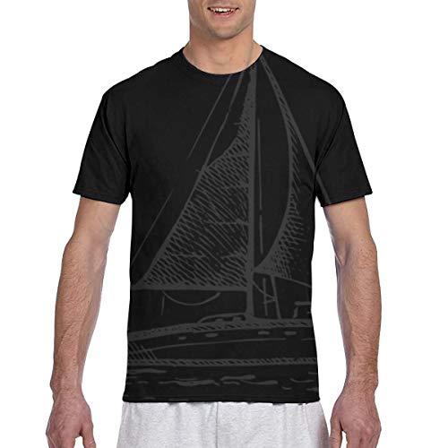 Zhgrong Men's T Shirt Sailboat in The Sea Retro Men's Casual Short Sleeve Shirt Fit Baseball T-Shirts Tee