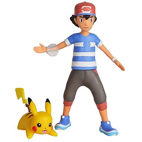 "Pokemon 4.5"" Battle Feature Action Figure, Features Ash and Launch into Action 2 inch Pikachu"