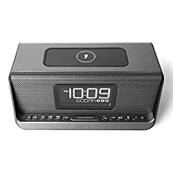 iHome Ibn350 Alarm Clock FM NFC Bluetooth Radio with Lightning iPhone QI Wireless Charging Dock Station for iPhone Xs, Max, XR, X, iPhone 8/7/6 Plus USB Port to Charge Any USB Device