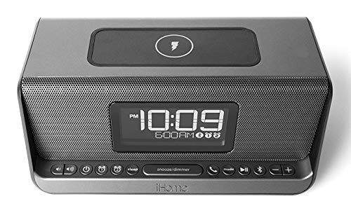 iHome iBN350 NFC Bluetooth Stereo Dual Alarm Clock with Speakerphone, Qi Charging and 1 Amp USB Charging
