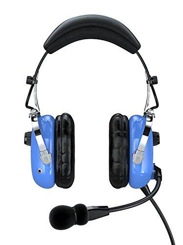 Faro G2ANR (Réduction de bruit active) Premium Pilot aviation casque avec entrée MP3(disponible Adaptateurs pour l'aviation et micro Connecteurs, Hélicoptère, adaptateur universel Pilot Headset, Standard de deux GA adaptateur universel Prise en charge)–Bleu