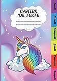 CAHIER DE TEXTE Licorne: Pour la rentrée scolaire, joli cahier de texte 2020 2021 pour fille pour noter tous les devoirs facilement dès le CP| Du ... rapidement| Format pratique pour le cartable