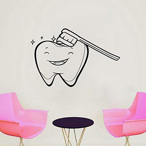 WERWN Calcomanías de Pared para consultorio Dental Dentista Sonrisa Pegatinas de Vinilo para Pared Salud Dental Hospital Dental decoración Interior Cepillo Mural