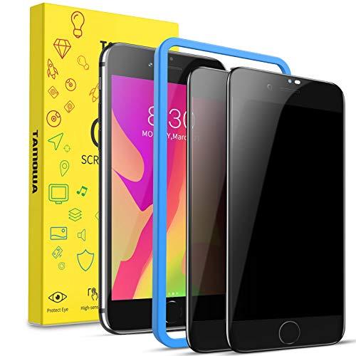 TAMOWA Protector Pantalla Privacidad para iPhone SE 2020/ iPhone 8/ iPhone 7 (2 Piezas), 3D Cubierta Completa Anti Spy Cristal Templado, Anti Espía Vidrio Templado para iPhone SE 2020/8/ 7, Negro