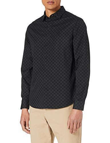 Armani Exchange Cotton Dobby Black Lines&Dots Shirt Camisa, Lines y Lunares Negros, XXL para Hombre