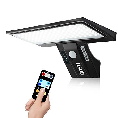 Luz Solar Exterior,JESLED 90 LED Carga solar y USB,Foco Solar Potente con Sensor de Movimiento,Control de 3 colores,remoto,Impermeable con 4 Modos Inteligentes para Jardín,Patio, Camino,Escalera