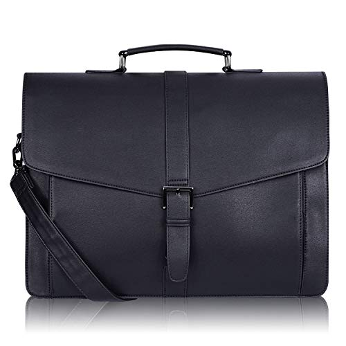 Estarer Mens PU Leather Briefcase 15.6 Inch Laptop Satchel Messenger Bag for Business Work Office Gifts for Him