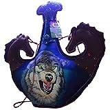 アルコール、ウイスキー、ラム酒、ウォッカの個別ショット飲料用ウルフフラットフラッゴングラスランドヘルズマンワインバッグ|男性用ギフト、フラスコ、 (Size : 64oz)