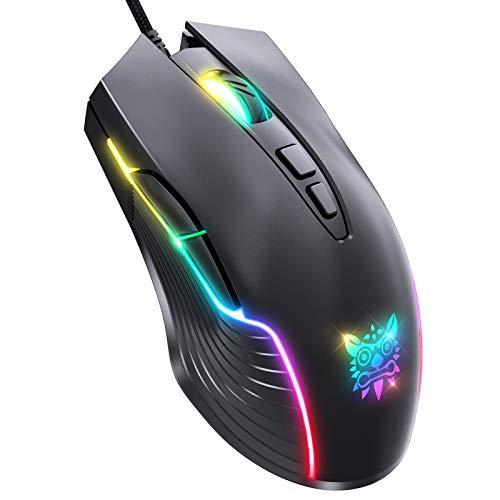 ONIKUMA Gaming Maus verkabelt, RGB Breathing Light Gaming Mouse, 7 programmierbare Tasten, 6400 DPI einstellbare, ergonomische optische PC-Computer spielmäuse für Windows 7/8/10 / XP Vista Linux