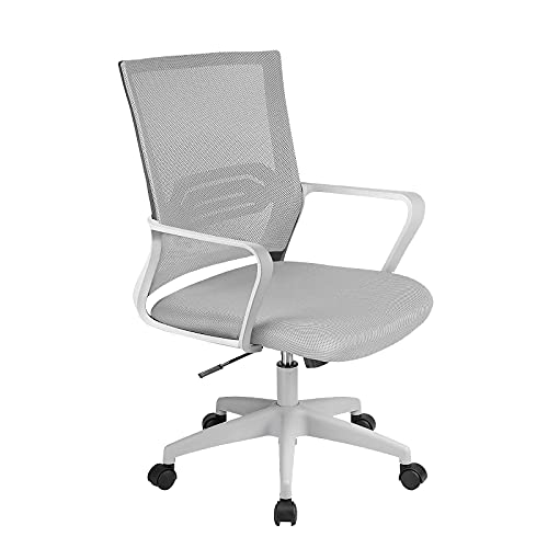 ComHoma Office Chair Ergonomic Desk Chair Mesh Computer Chair Mid Back Mesh Home Office Swivel Chair, Modern Executive Chair with Armrests Lumbar Support(Gray),