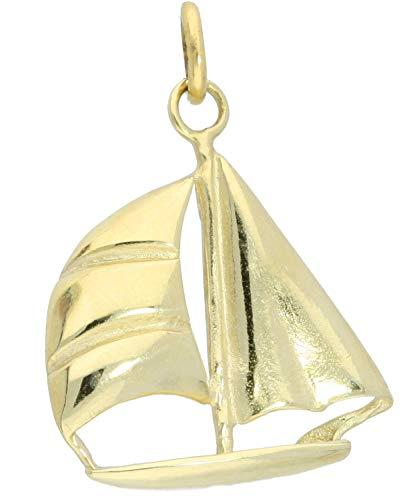 MyGold zeilschip hanger (zonder ketting) geel goud 333 goud (8 karaat) massief gegoten glans 22 mm x 30 mm gouden hanger kettinghanger geschenken voor heren cadeau-ideeën wind A-05108-G301