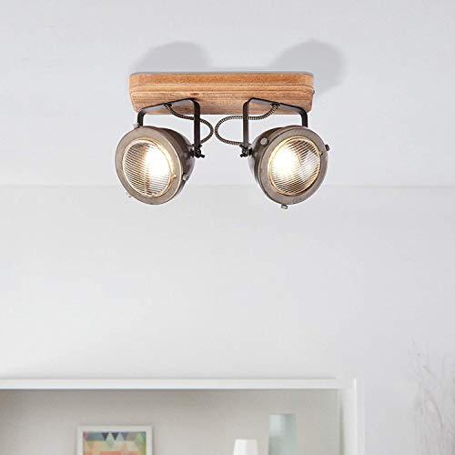 Lightbox - Lámpara de techo retro de 2 focos, orientable, 2 casquillos GU10, para máx. 5 W, metal, acero marrón