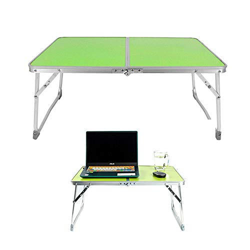 Efan Laptop Table, Portable Notebook Stand Reading Holder, Green Folding Camping Table, for Breakfast Serving Bed Tray, Writing, Study, Student Dorm Bed Desk, Outdoor Picnic - 60x40×26cm