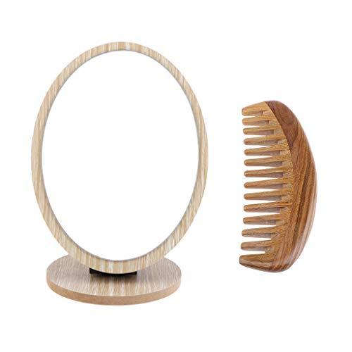 Homyl Peigne en Bois de Santal Peigne Massage Démêlant Naturel Vintage, Peigne à la Main +Miroir de Table Maquillage à Rotation